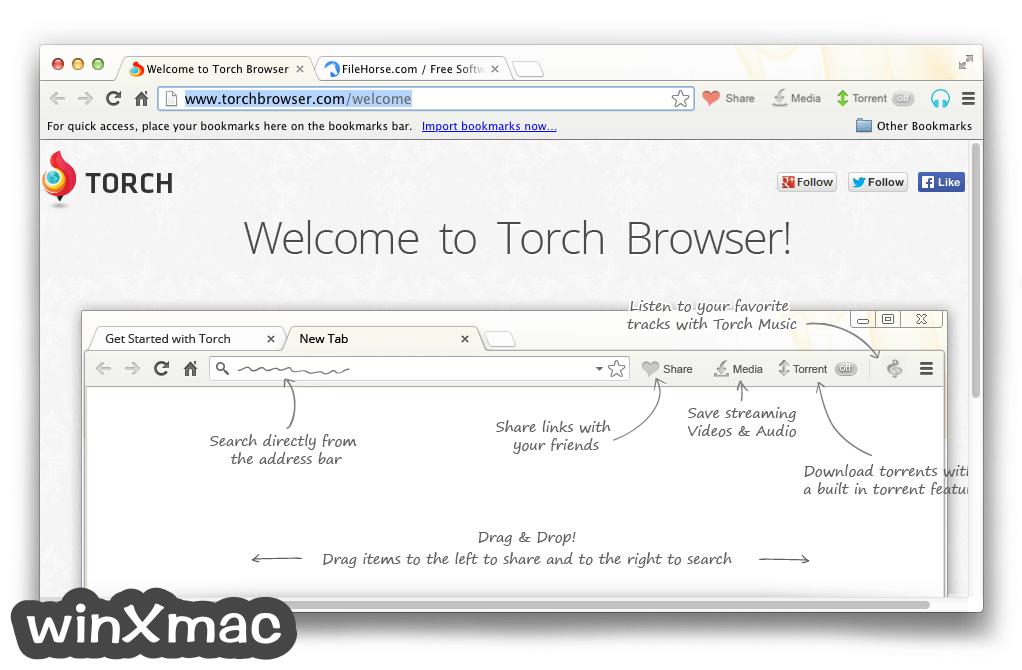 Torch Browser for Mac Screenshot 1