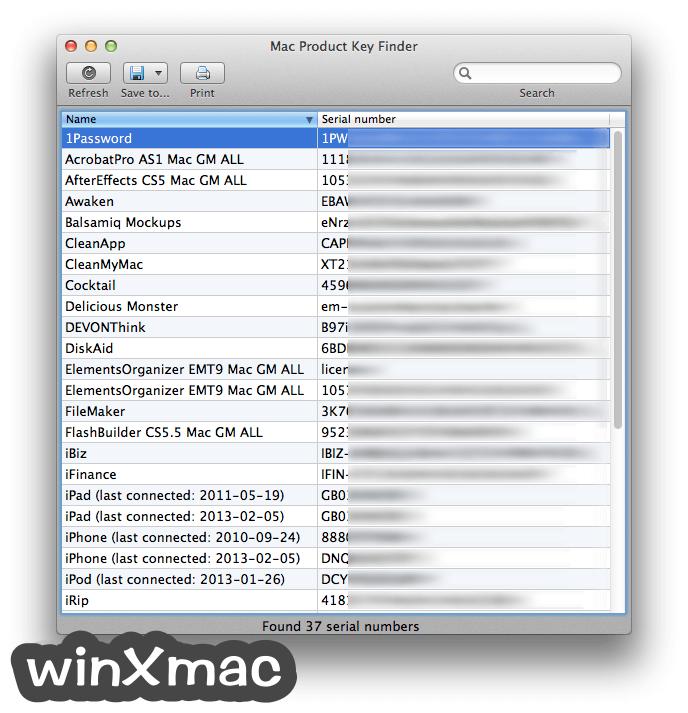Mac Product Key Finder Screenshot 1