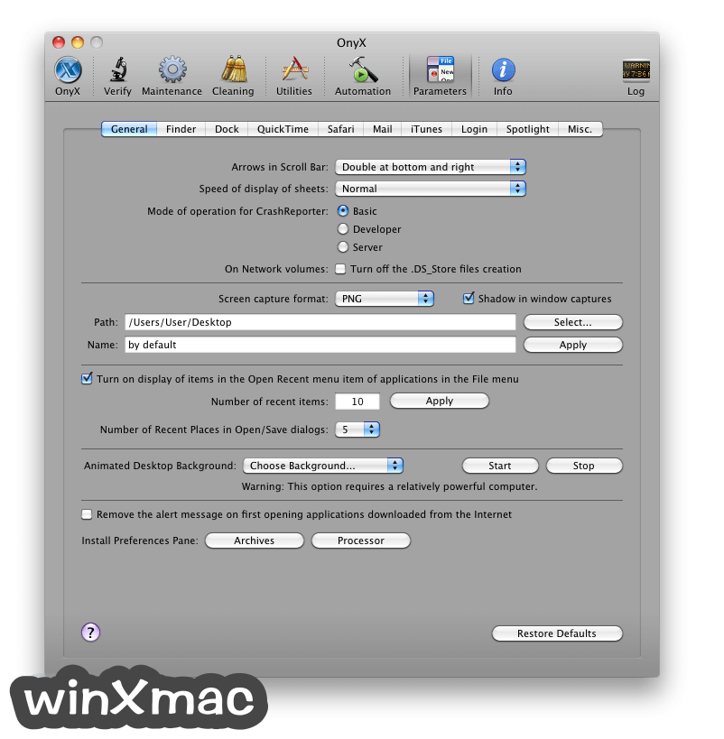 OnyX for Mac Screenshot 3