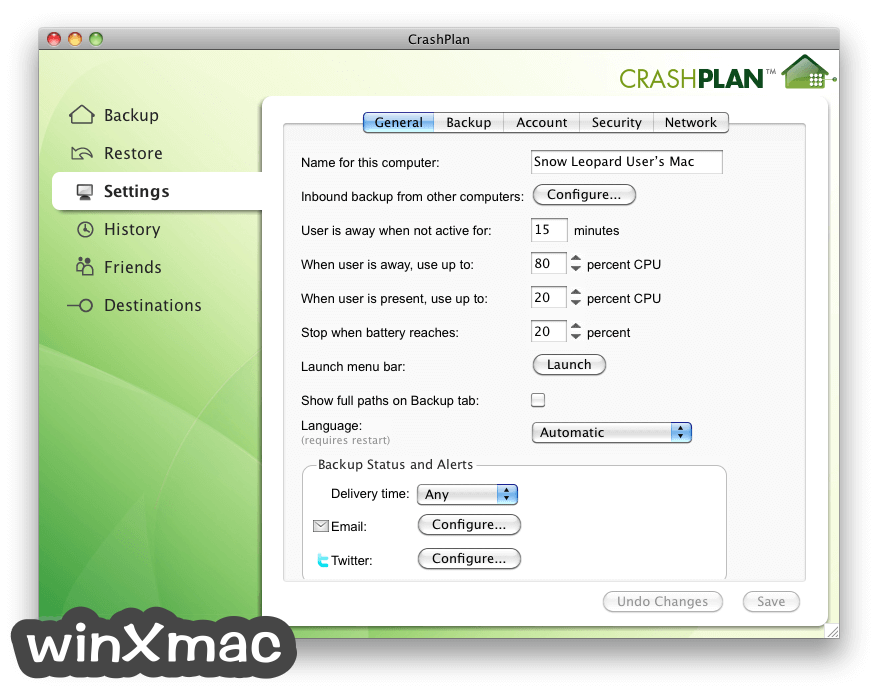CrashPlan for Mac Screenshot 2
