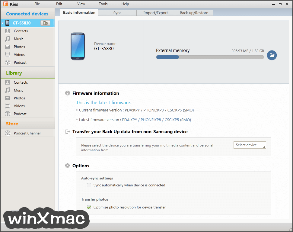 Samsung Kies for Mac Screenshot 1