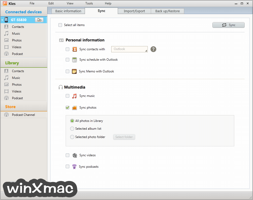 Samsung Kies for Mac Screenshot 2