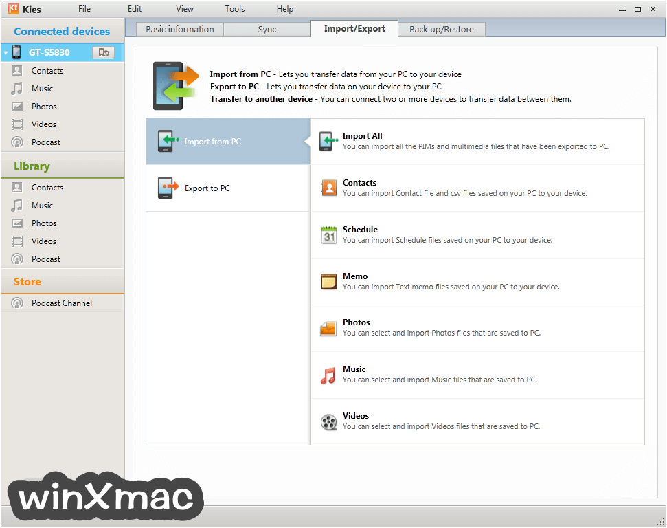 Samsung Kies for Mac Screenshot 3