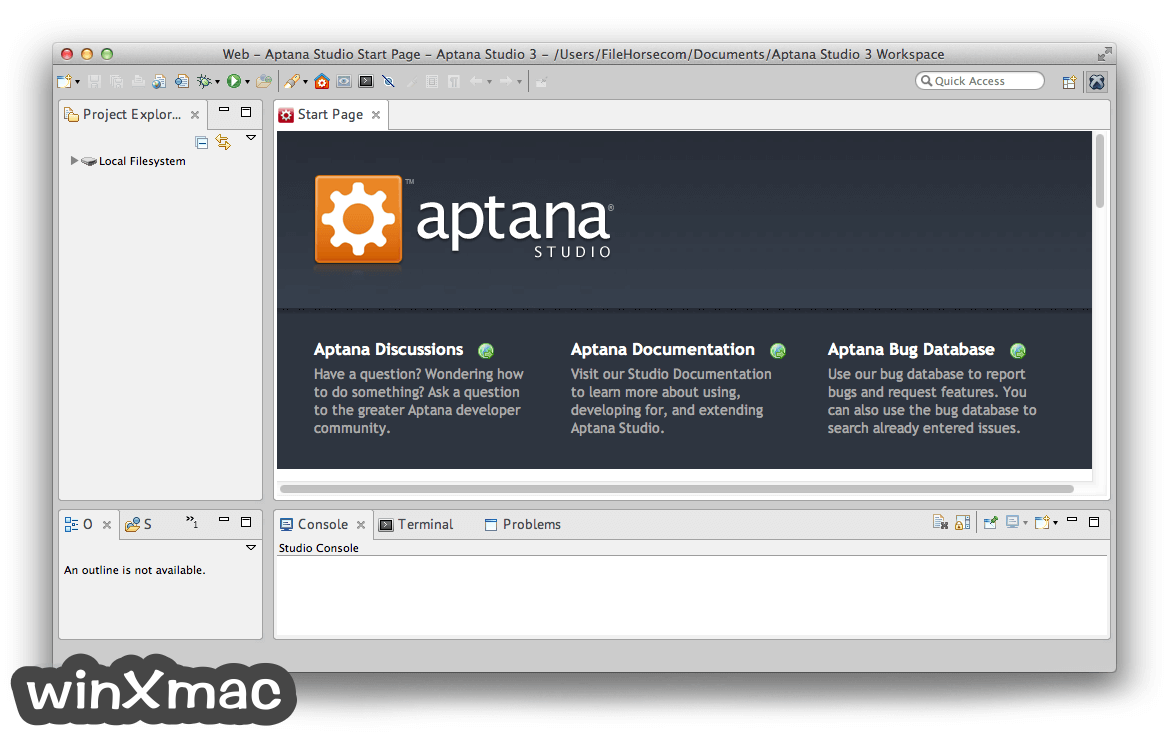 Aptana Studio for Mac Screenshot 1