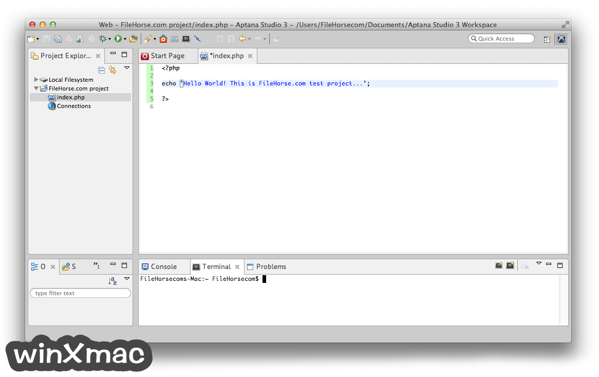 Aptana Studio for Mac Screenshot 2