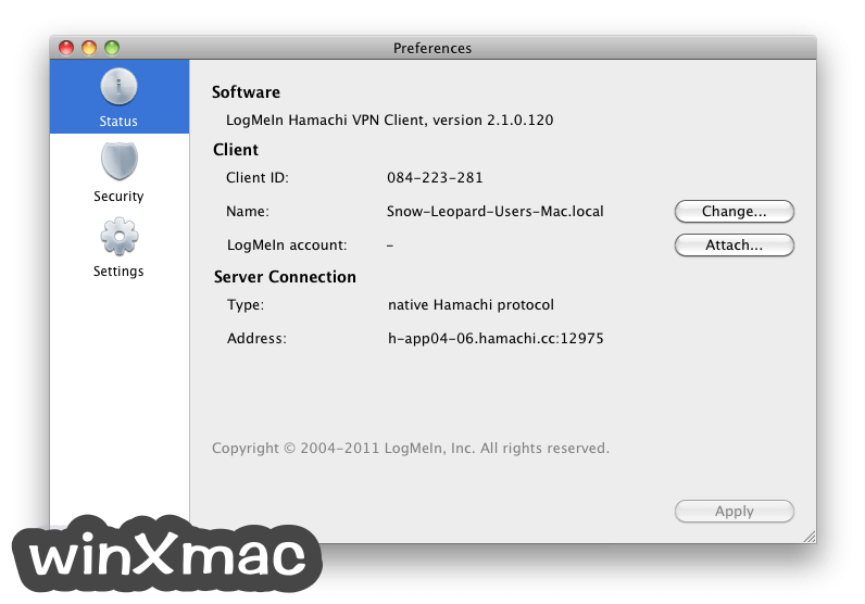 LogMeIn Hamachi for Mac Screenshot 2