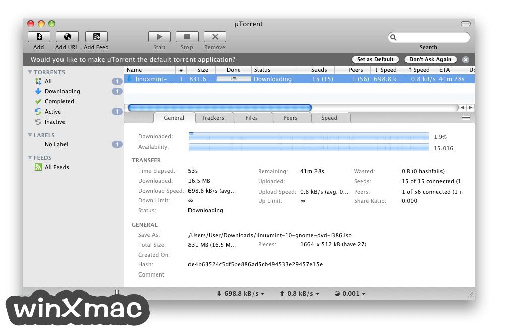 uTorrent for Mac Screenshot 1