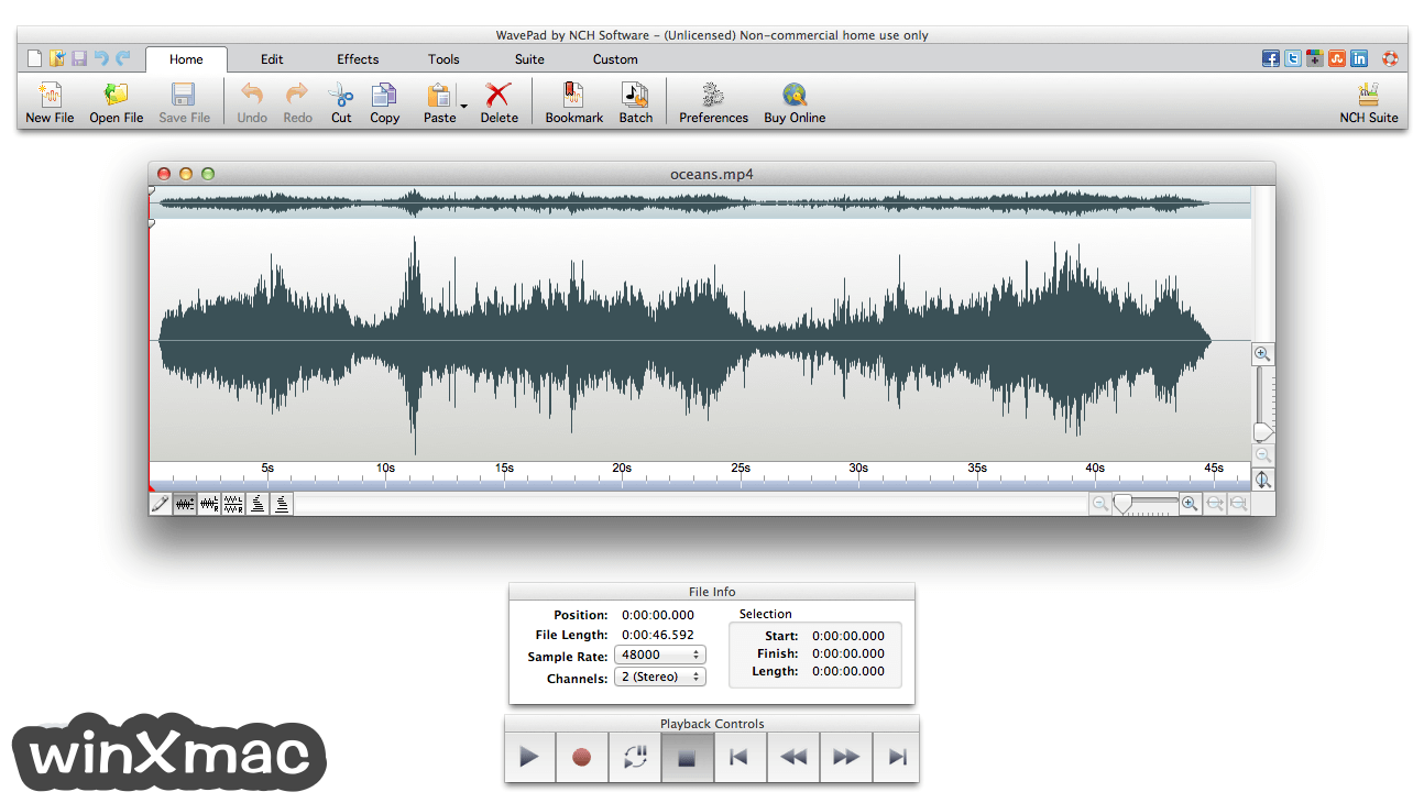WavePad Sound Editor for Mac Screenshot 1