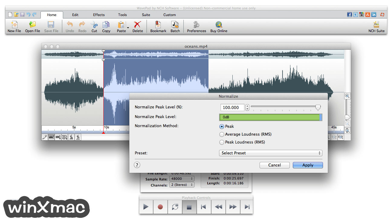 WavePad Sound Editor for Mac Screenshot 2