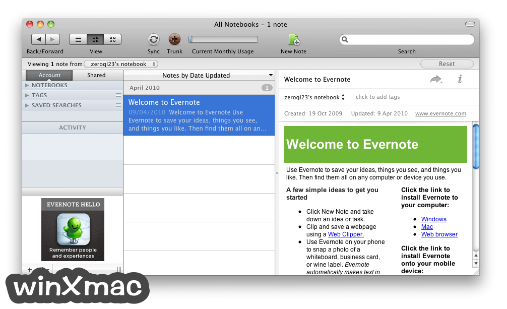 Evernote for Mac Screenshot 1