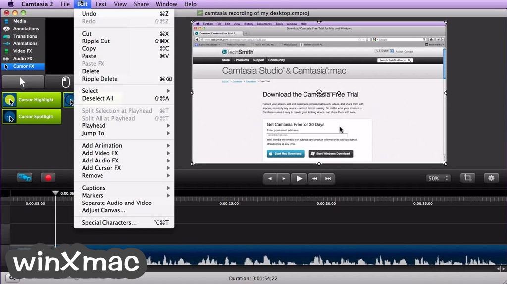 Camtasia Studio for Mac Screenshot 3