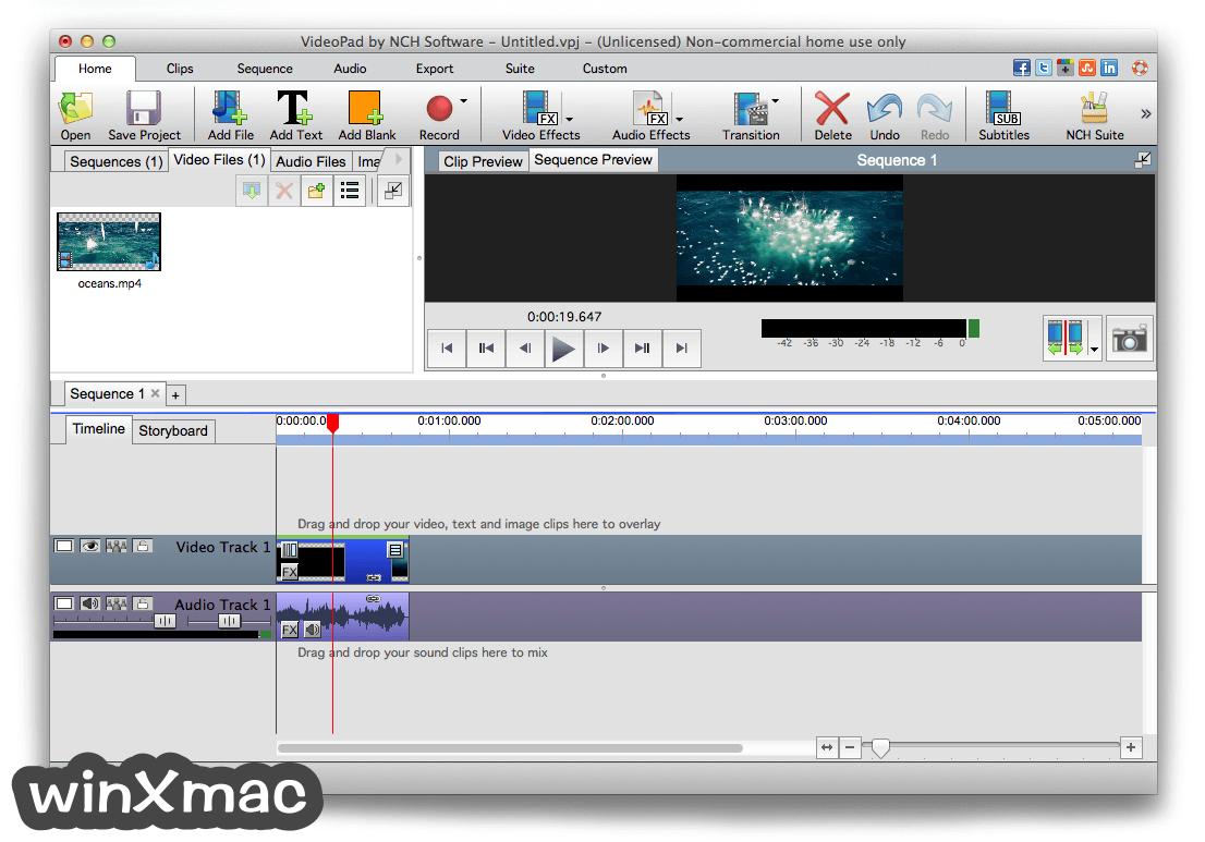 VideoPad Video Editor for Mac Screenshot 1