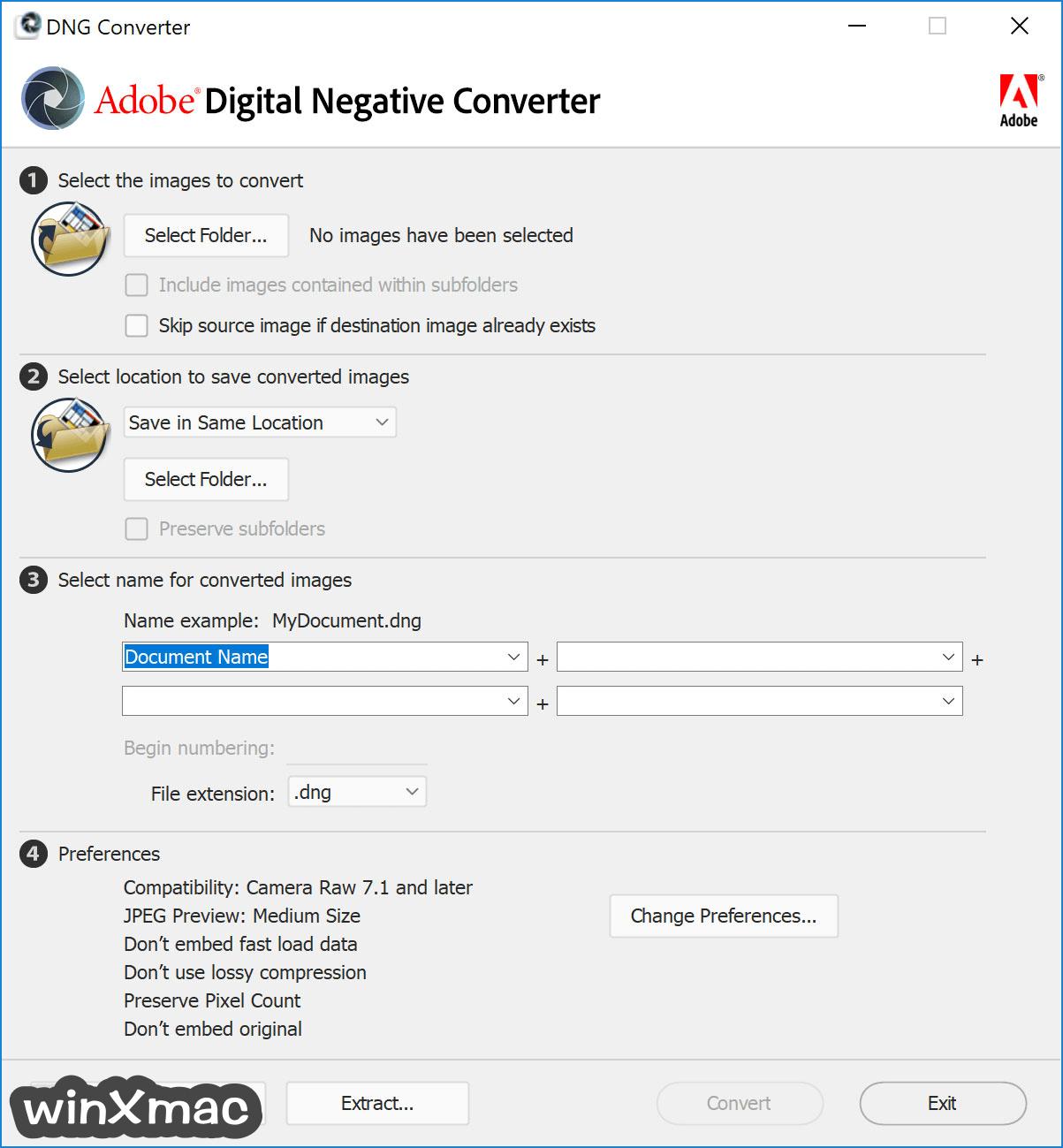 Adobe DNG Converter Screenshot 1