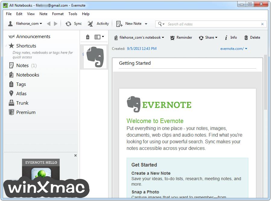 Evernote Screenshot 1